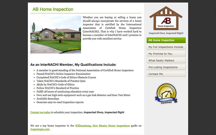 Albuquerque Web Design Client - AB Inspection