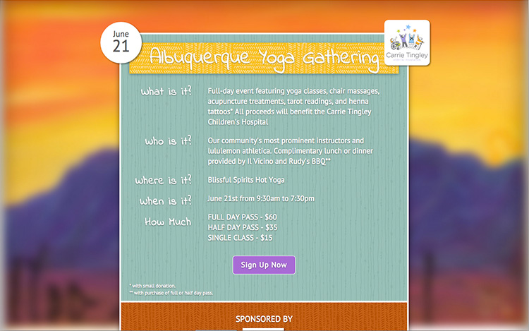 Albuquerque Web Design Client - Albuquerque Yoga Gathering