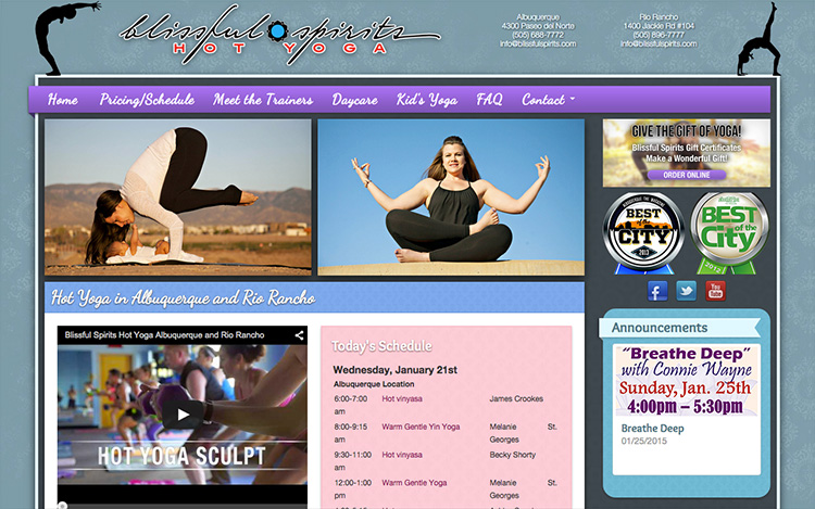 Albuquerque Web Design Client - Blissful Spirits Hot Yoga