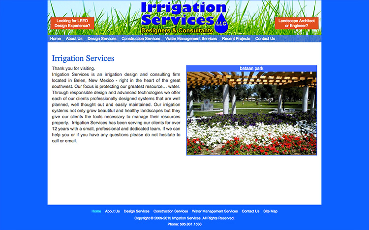 Albuquerque Web Design Client - Irrigation Services