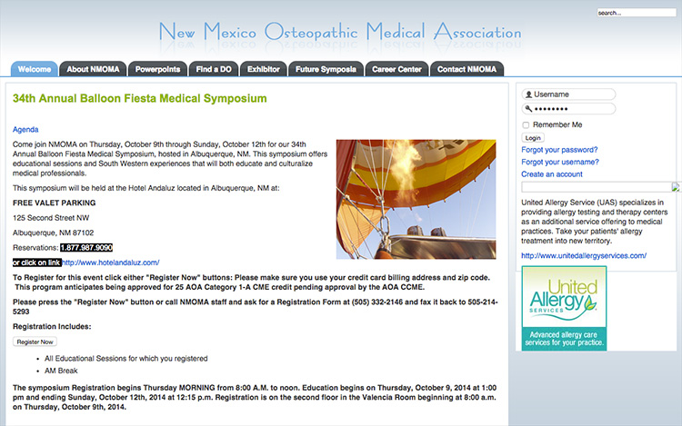 Albuquerque Web Design Client - New Mexico Osteopathic Medical Association