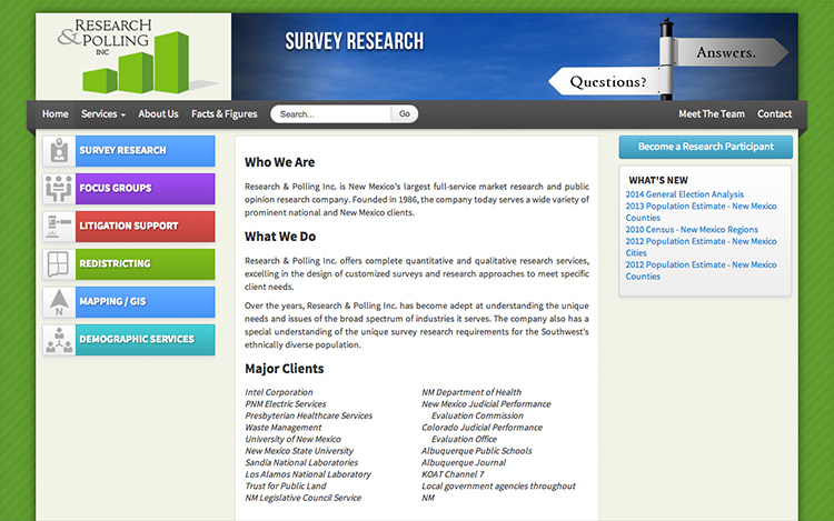 Albuquerque Web Design Client - Research & Polling Inc.