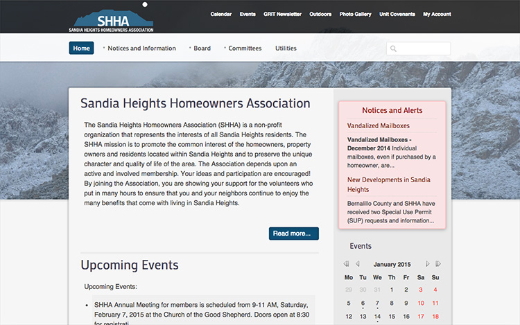 Albuquerque Web Design Client - Sandia Heights Homeowners Association