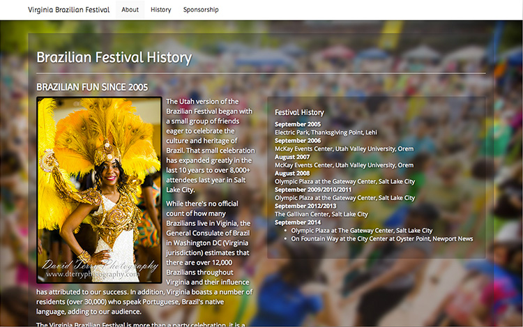 Albuquerque Web Design Client - Virginia Brazilian Festival